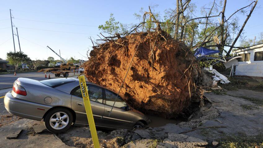 Mandatory Credit: Photo by Stan Gilliland/EPA/Shutterstock (7718544h)A Car is Swallowed Up by a Hole Left After This Tree Fell As a Tornado Passed Just South of Downtown Raleigh North Carolina Usa on 17 April 2011 the Storm Killed Twenty Two and Injured at Least Eighty More As It Moved Through the State United States SanfordUsa Tornado Deaths - Apr 2011.