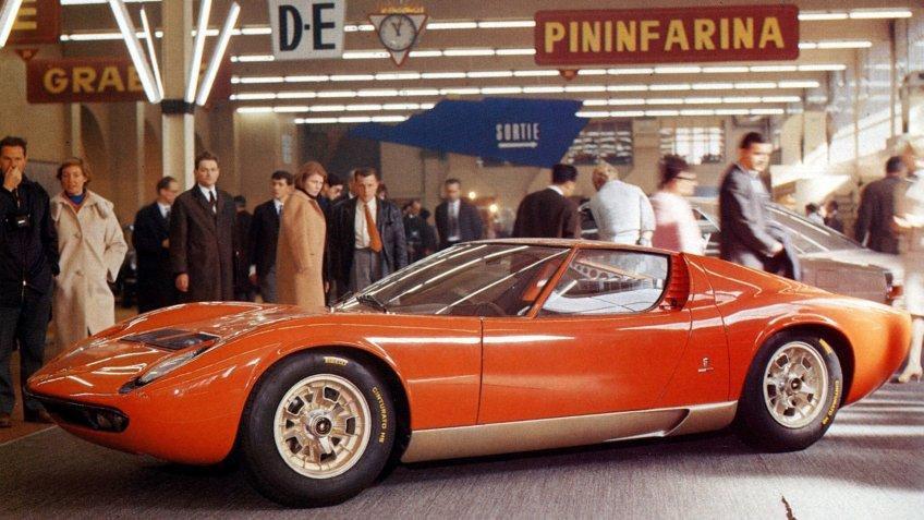 Editorial use onlyMandatory Credit: Photo by Magic Car Pics/Shutterstock (3918781a)1966 Lamborghini Miura 1966 Geneva motor showVARIOUS.
