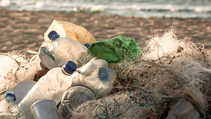 Beach pollution.