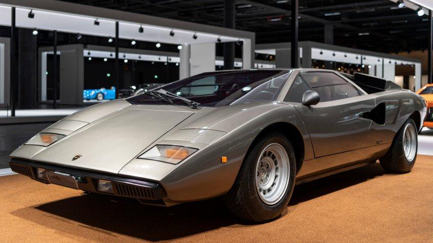 Mandatory Credit: Photo by GEORGIOS KEFALAS/EPA-EFE/Shutterstock (9863701aq)A Lamborghini Countach LP 400 (1974) on display at the Grand Basel car show in Basel, Switzerland, 05 September 2018.
