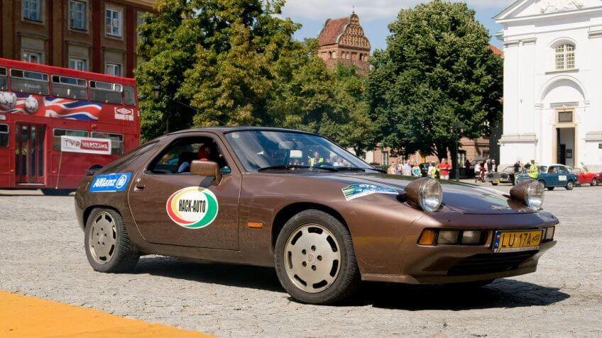 WARSAW - JULY 7: 1977 Porsche 928 on Car Competition during XXXIth Warsaw Antique Car Rally.