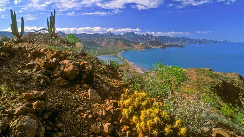 View of the Sierra de la Giganta Mountains and Sea of Cortez in Baja California Sur, Mexico.