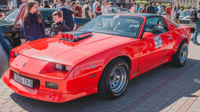 Minsk, Belarus - May 18, 2019: Exhibition and parade of retro cars - Chevrolet 1985 Camaro IROC-Z - Image.