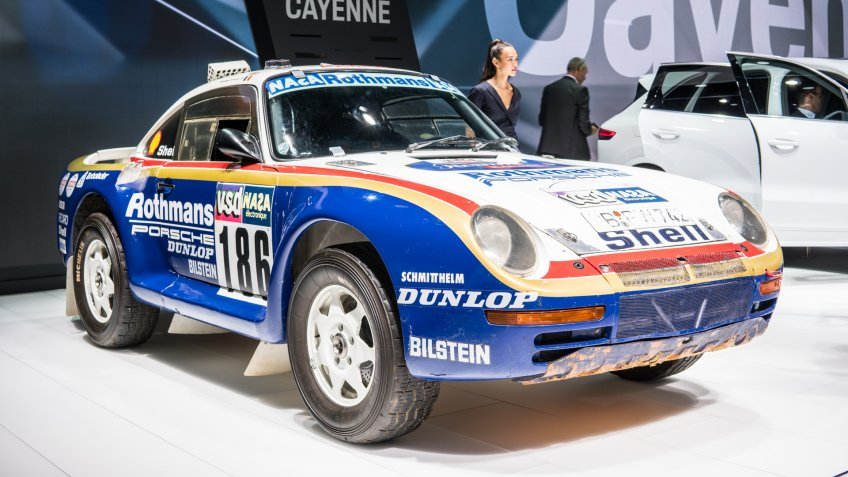 Frankfurt, Germany, September 13, 2017: Sports rally car Porsche 959 Paris-Dakar, 1986 at 67th International Motor Show IAA - Image.