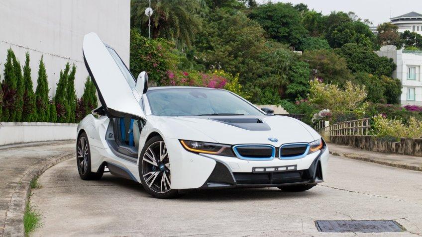 Hong Kong, China Nov 12, 2014 : BMW i8 2014 test drive on Nov 12 2014 in Hong Kong.