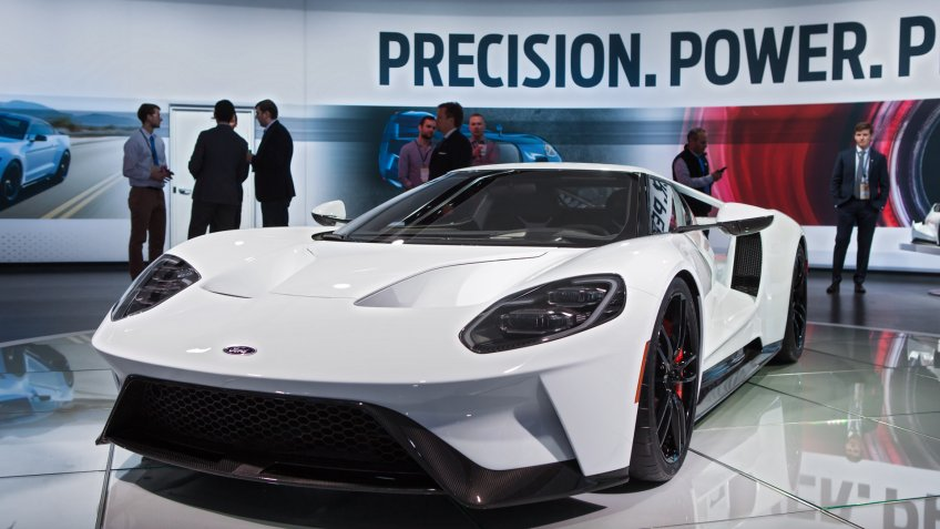 DETROIT - JANUARY 11: The 2017 Ford GT supercar on display at the North American International Auto Show media preview January 13, 2016 in Detroit, Michigan.