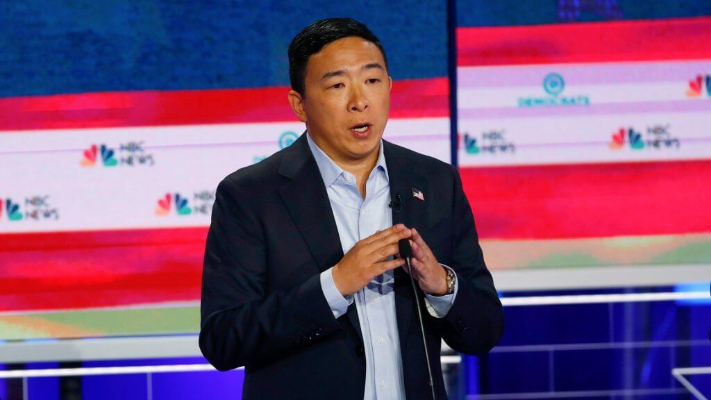 Mandatory Credit: Photo by Wilfredo Lee/AP/Shutterstock (10323369k) Democratic presidential candidate entrepreneur Andrew Yang, speaks during the Democratic primary debate hosted by NBC News at the Adrienne Arsht Center for the Performing Art, in Miami Election 2020 Debate, Miami, USA - 27 Jun 2019.