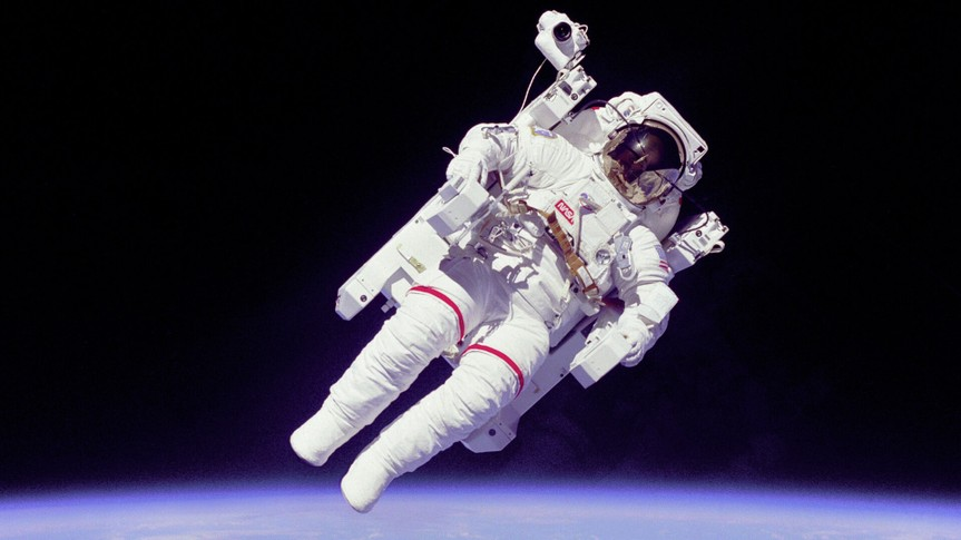 Astronaut Bruce McCandless in space
