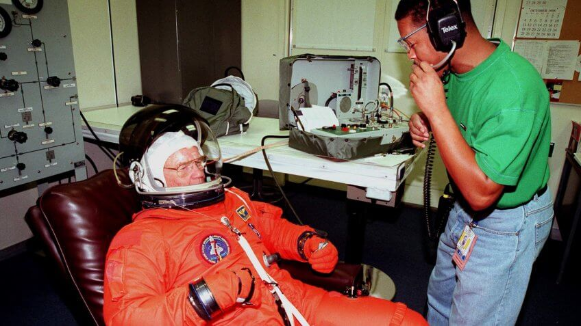 Astronaut John Glenn Jr. participates in terminal Countdown Demonstration Test