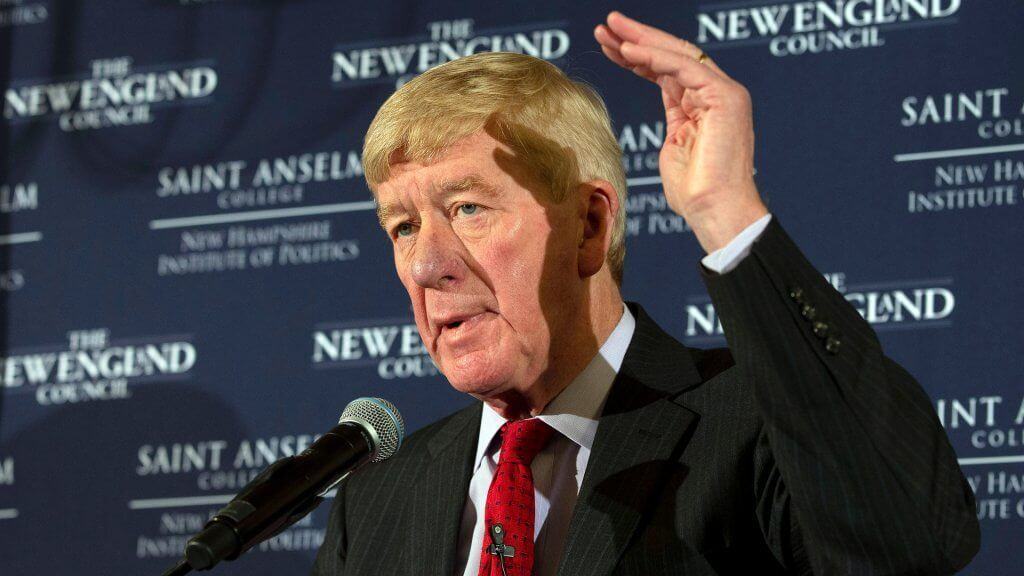 Mandatory Credit: Photo by CJ GUNTHER/EPA-EFE/Shutterstock (10107920m) Former Massachusetts Governor Bill Weld announces his intention to form an exploratory committee to purse the Republican nomination for United States President at the New England Council Politics and Eggs at the Bedford Inn, in Bedford, New Hampshire, USA 15 February 2019.