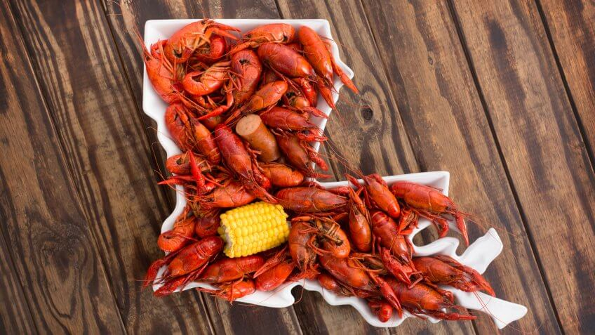 Boiled Crawfish on a Wood Background.