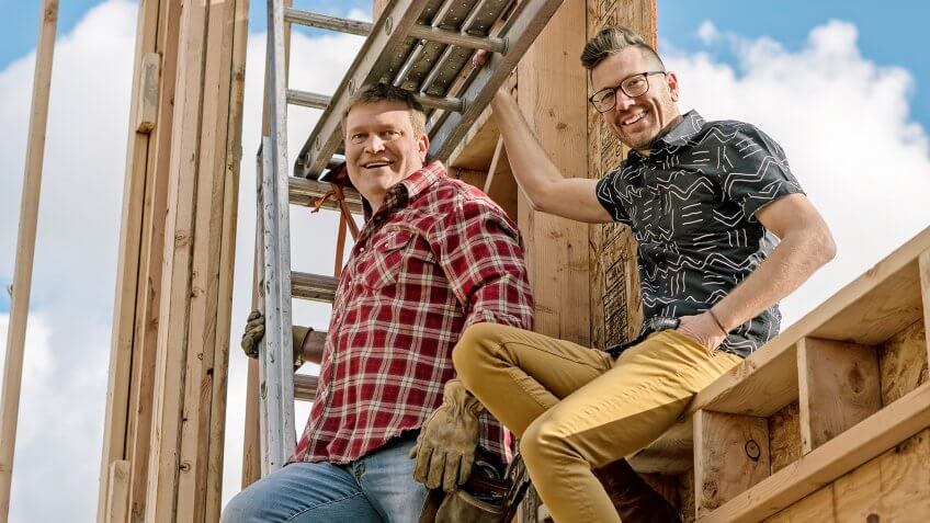 Clint Robertson and Luke Caldwell work onsite during the framing of a New Construction project in Boise, Idaho, as seen on Boise Boys with Clint Robertson and Luke Caldwell.