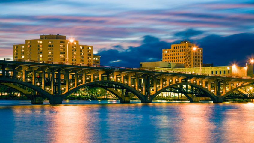 Bridge in Rockford, Illinois, USA.