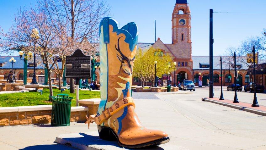 CHEYENNE, WYOMING - APRIL 27, 2018: View of historic downtown Cheyenne Wyoming.