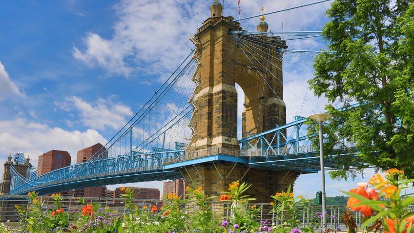 The Roebling Bridge in Cincinnati in the summer