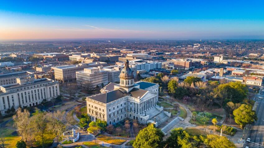 Drone Aerial View of Downtown Columbia, South Carolina, USA.