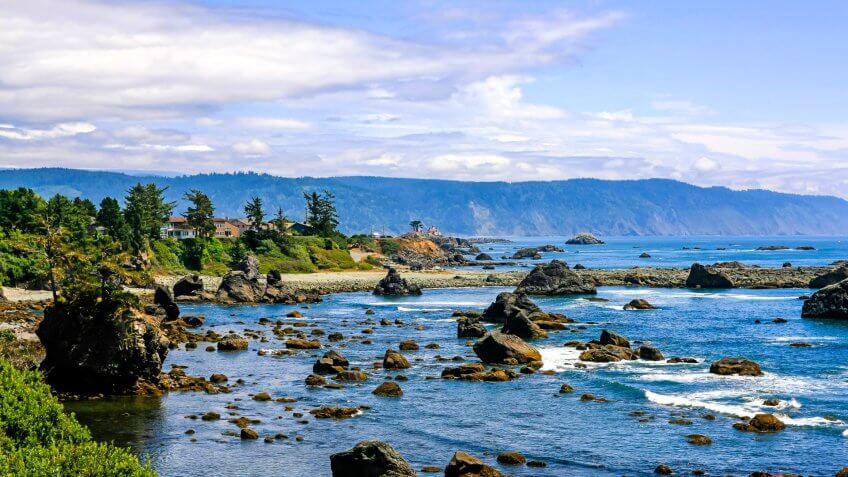 Crescent City, CA, USA - July 12, 2015: View of  the Pacific coast in the upper northwestern part of California, about 20 miles south of the Oregon border.