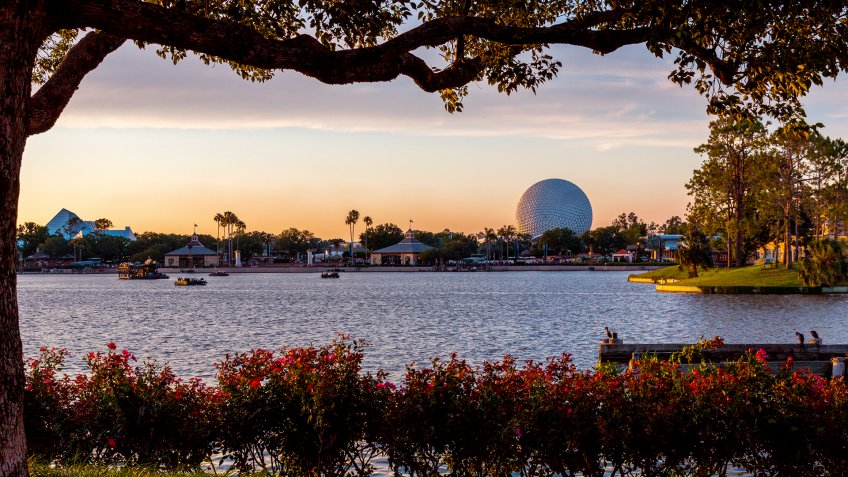 A view of  Spaceship Earth, a geodesic sphere, located in Epcot at the Walt Disney World Resort in Bay Lake, Florida.
