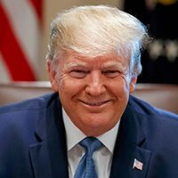 Mandatory Credit: Photo by Alex Brandon/AP/Shutterstock (10338009d) President Donald Trump smiles during a Cabinet meeting in the Cabinet Room of the White House, in Washington Trump, Washington, USA - 16 Jul 2019.