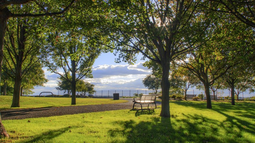 A beautiful magical moments in time before sunsets at Crescent Park, East Providence, Rhode Island - Image.