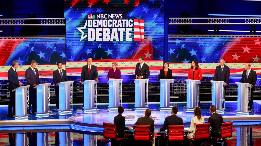 Mandatory Credit: Photo by Wilfredo Lee/AP/Shutterstock (10321961by)Democratic presidential candidate former Housing and Urban Development Secretary Julian Castro, third from left, answers a question, during a Democratic primary debate hosted by NBC News at the Adrienne Arsht Center for the Performing Art, in MiamiElection 2020 Debate, Miami, USA - 26 Jun 2019.