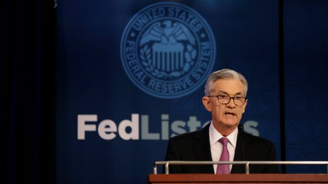 Mandatory Credit: Photo by Kiichiro Sato/AP/Shutterstock (10268072n)Federal Reserve Chairman Jerome Powell speaks at a conference involving its review of its interest-rate policy strategy and communications, in ChicagoFederal Reserve Powell, Chicago, USA - 04 Jun 2019.