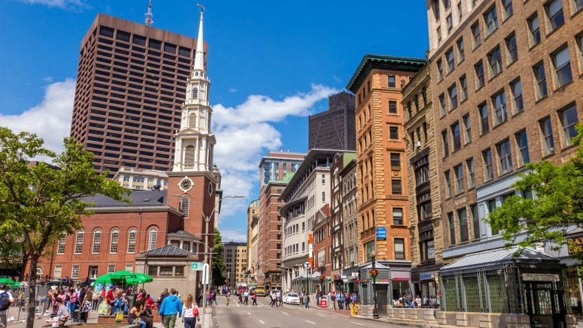 Freedom Trail in downtown Boston
