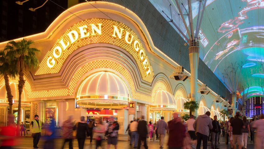 LAS VEGAS, NEVADA - MAY 7, 2014: Historic Golden Nugget Hotel and Casino on Fremont Street in Las Vegas. This Vegas landmark was built in 1946. - Image