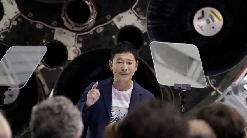 Japanese billionaire Yusaku Maezawa talks at SpaceX