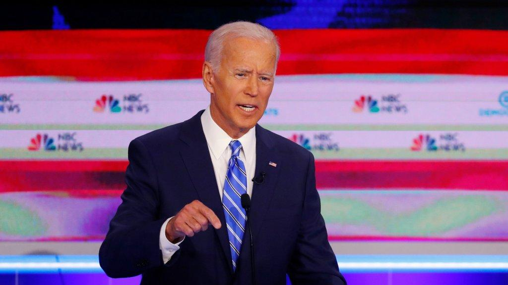 Mandatory Credit: Photo by Wilfredo Lee/AP/Shutterstock (10323369ag)Democratic presidential candidate former Vice-President Joe Biden, speaks during the Democratic primary debate hosted by NBC News at the Adrienne Arsht Center for the Performing Art, in MiamiElection 2020 Debate, Miami, USA - 27 Jun 2019.