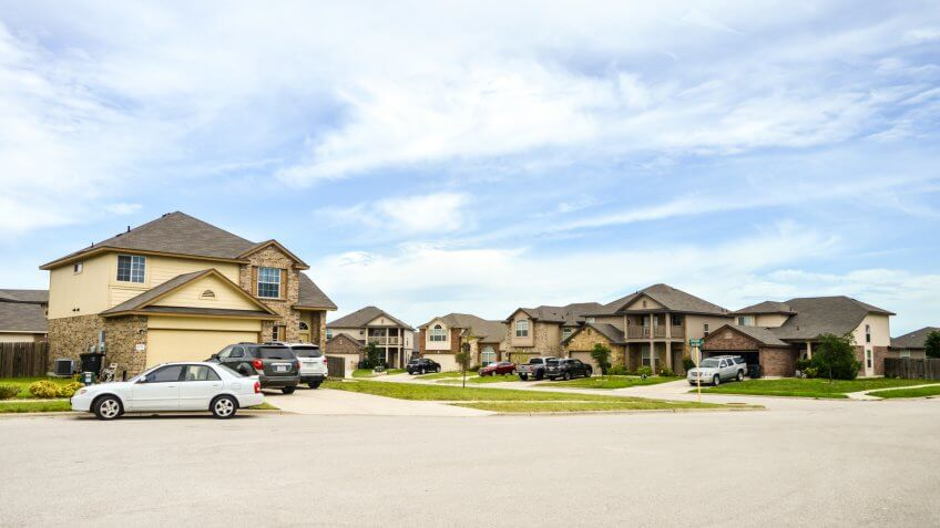 Killeen, Texas - August 25th 2016: Residential neighborhood in the South with blue sky in the background.