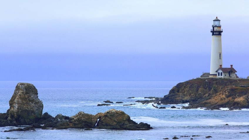 Nice emblems at Lompoc, California, the Point Conception Lighthouse nad Indian Head Rock at the coast.