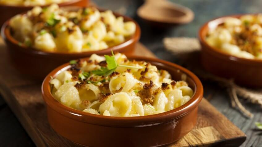 Baked Homemade Macaroni and Cheese with Parsley.