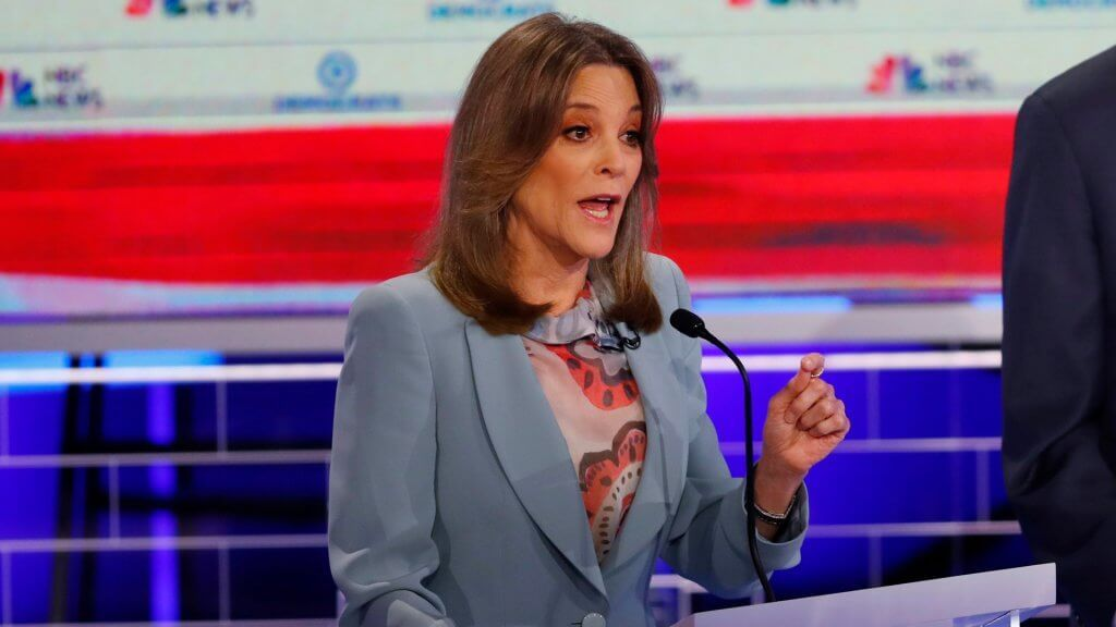 Mandatory Credit: Photo by Wilfredo Lee/AP/Shutterstock (10323369l) Democratic presidential candidate author Marianne Williamson, speaks during the Democratic primary debate hosted by NBC News at the Adrienne Arsht Center for the Performing Art, in Miami Election 2020 Debate, Miami, USA - 27 Jun 2019.
