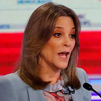 Mandatory Credit: Photo by Wilfredo Lee/AP/Shutterstock (10323369l)Democratic presidential candidate author Marianne Williamson, speaks during the Democratic primary debate hosted by NBC News at the Adrienne Arsht Center for the Performing Art, in MiamiElection 2020 Debate, Miami, USA - 27 Jun 2019.