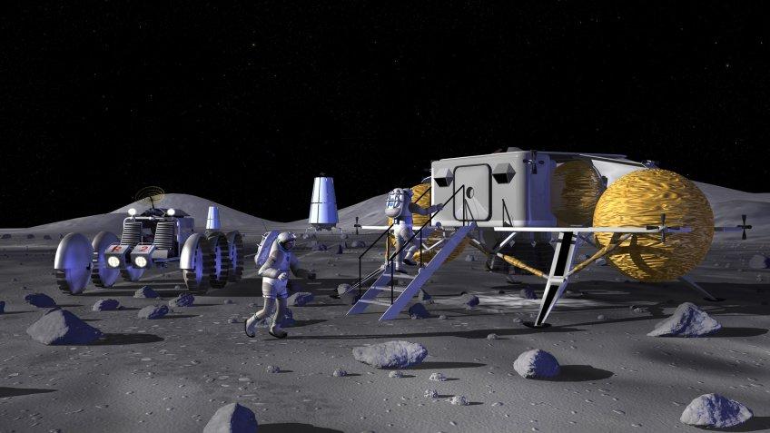 NASA lunar outpost rendering