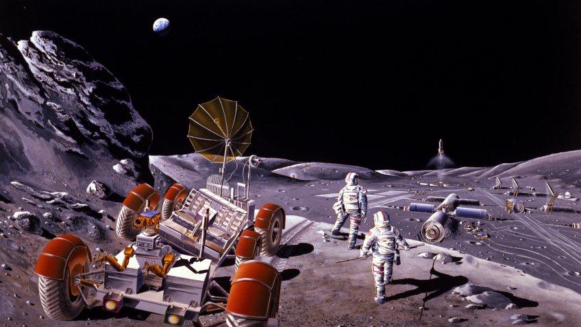 NASA moon colony with rover
