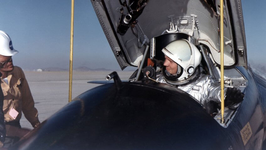 Neil Armstrong in cockpit of X-15 jet