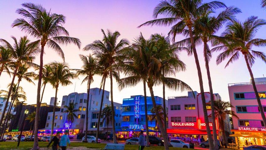 Ocean Drive night in Miami Beach.