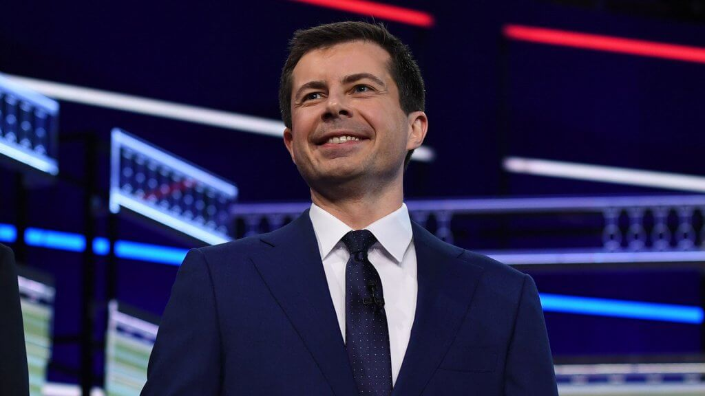ALL NEW YORK DAILIES OUT Mandatory Credit: Photo by Larry Marano/Shutterstock (10323445ai) Pete Buttigieg First Democratic Presidential Debate, Miami, USA - 27 Jun 2019.