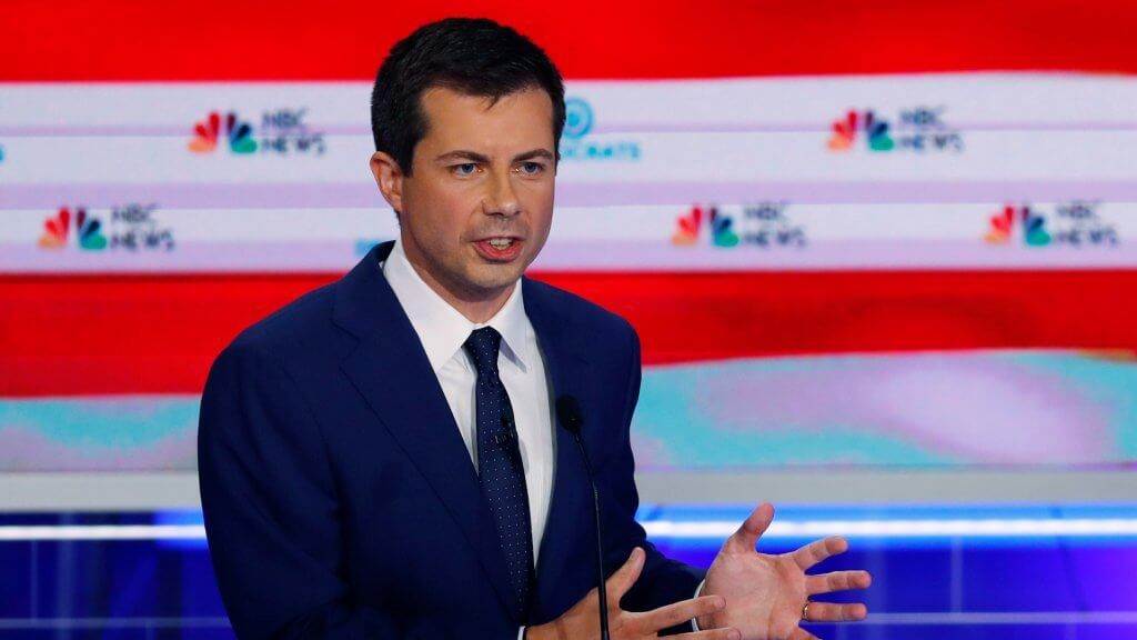 Mandatory Credit: Photo by Wilfredo Lee/AP/Shutterstock (10323334y)Democratic presidential candidate South Bend Mayor Pete Buttigieg speaks during the Democratic primary debate hosted by NBC News at the Adrienne Arsht Center for the Performing Arts, in MiamiElection 2020 Debate, Miami, USA - 27 Jun 2019.