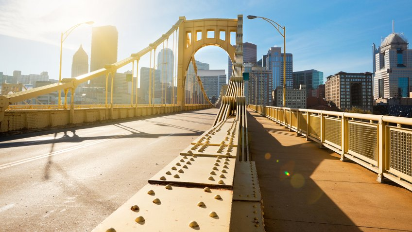 An early morning photo of the Andy Warhol Bridge which leads to downtown Pittsburgh, Pennsylvania, USA.