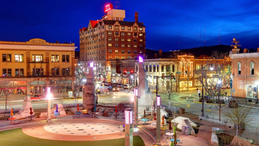 Rapid City, South Dakota, USA - May 2, 2019: Evening view of Main Street Square in the Heart of Downtown Rapid City.