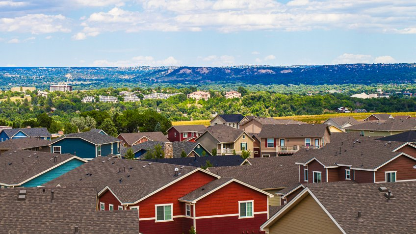 Rooftop views over Colorado Springs.