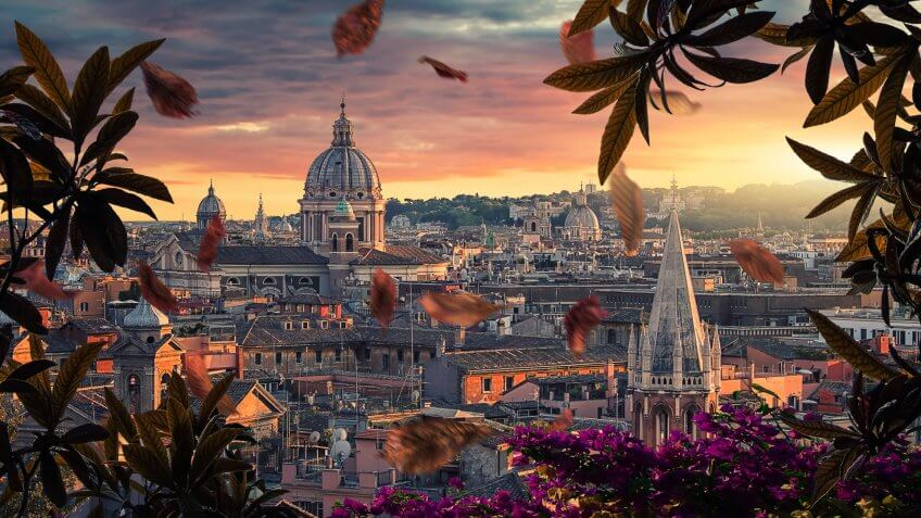 Beautiful sunset on the city of Rome in evening.