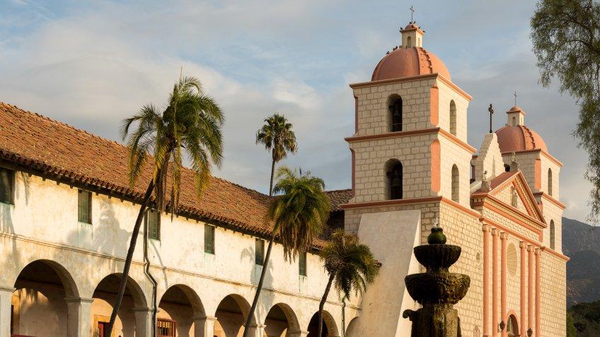 Catholic Mission in Santa Barbara at dawn.