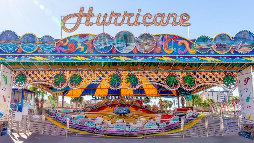 Myrtle Beach, South Carolina, November 27, 2017 Located at the Family Kingdom Amusement Park, this Hurricane amusement park ride is steps away from the potential landfall of Hurricane Florence.