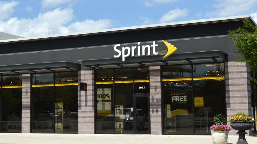 Columbus,Ohio-USA June 26,2019: Sprint Corporation is an American telecommunications company that provides wireless services and is an internet service provider, based in Overland Park, KS.