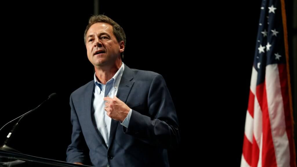 Mandatory Credit: Photo by Charlie Neibergall/AP/Shutterstock (10299543bz) Democratic presidential candidate Steve Bullock speaks during the Iowa Democratic Party's Hall of Fame Celebration, in Cedar Rapids, Iowa Election 2020 Iowa, Cedar Rapids, USA - 09 Jun 2019.