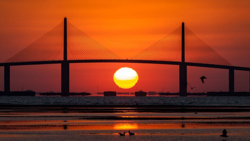 Sunshine Skyway Bridge with sunrise, Tampa Bay - Image.
